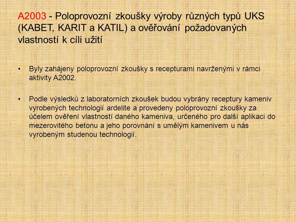 A2003 - Poloprovozní zkoušky výroby různých typů UKS (KABET, KARIT a KATIL) a ověřování požadovaných vlastností k cíli užití