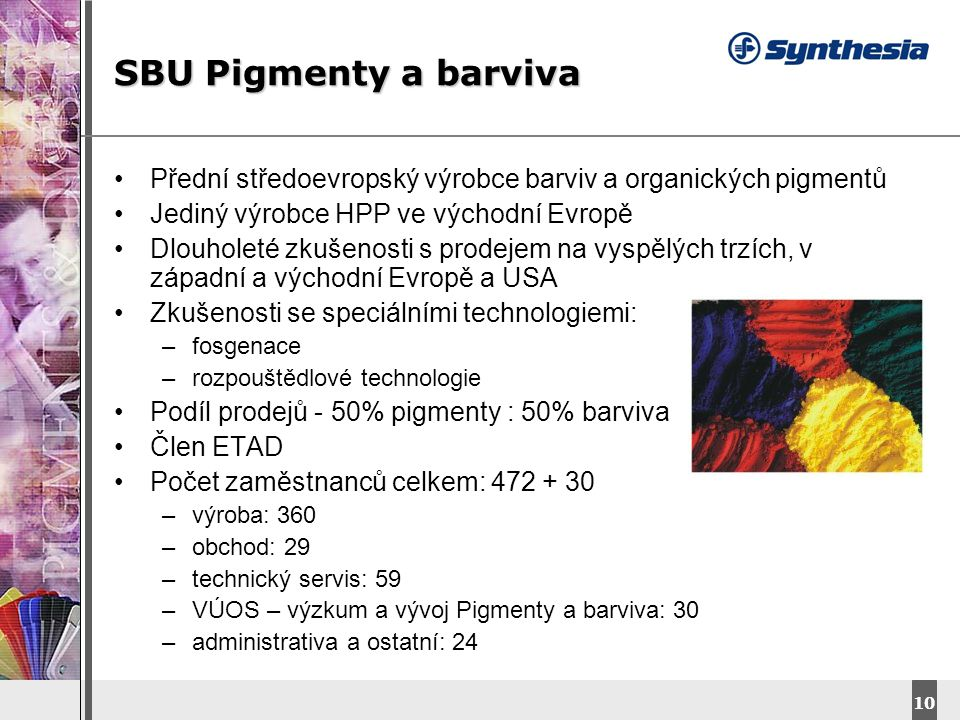 SBU Pigmenty a barviva Přední středoevropský výrobce barviv a organických pigmentů. Jediný výrobce HPP ve východní Evropě.