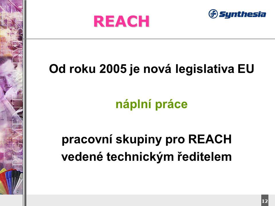 REACH Od roku 2005 je nová legislativa EU náplní práce
