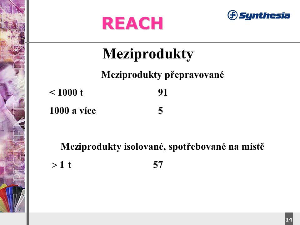 REACH Meziprodukty Meziprodukty přepravované < 1000 t 91