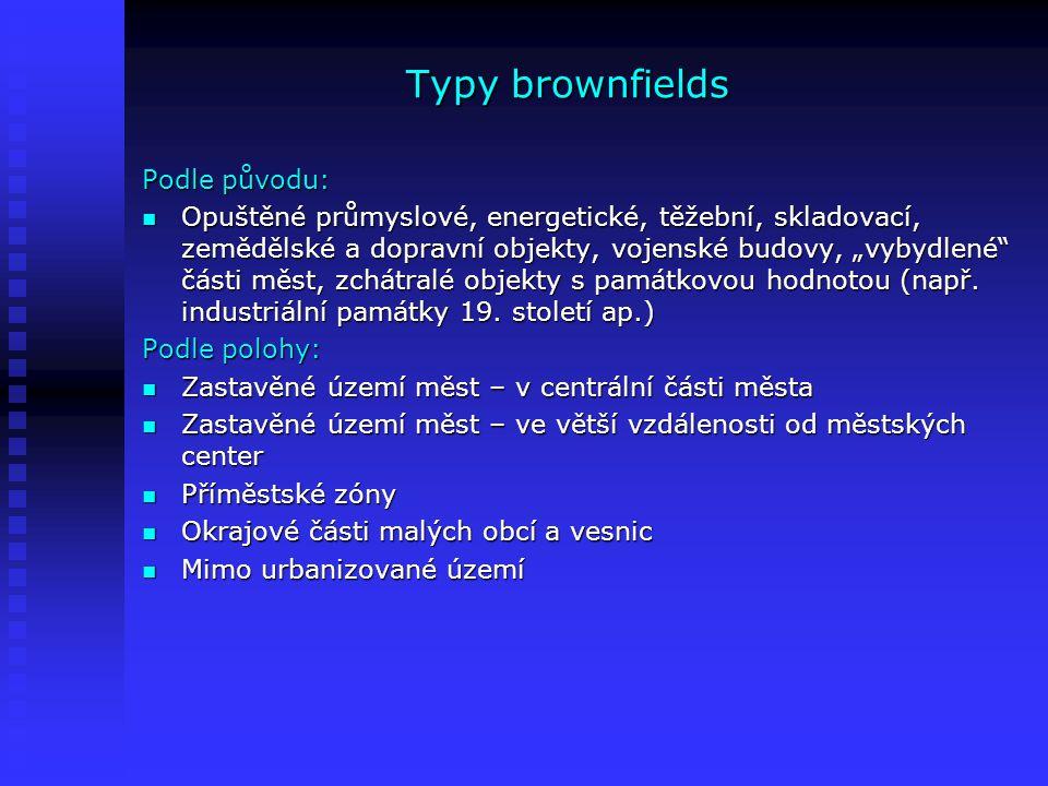 Typy brownfields Podle původu: