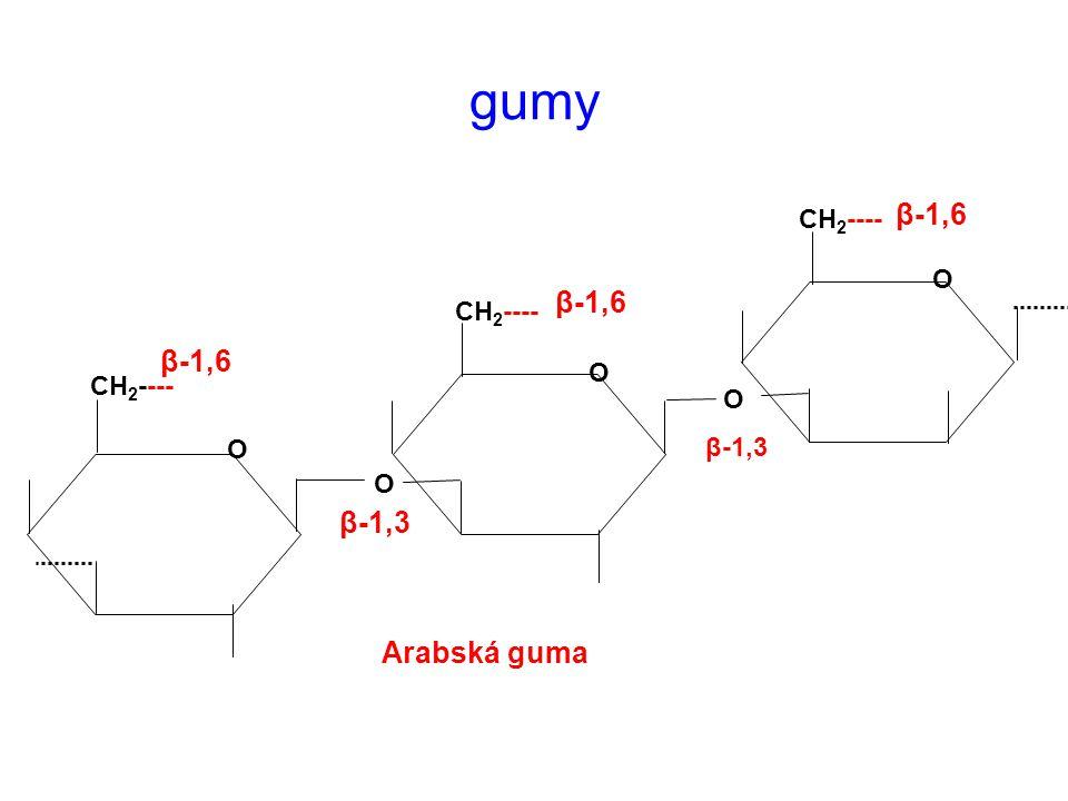 gumy β-1,6 β-1,6 β-1,6 β-1,3 Arabská guma CH2---- O CH2---- O CH2----