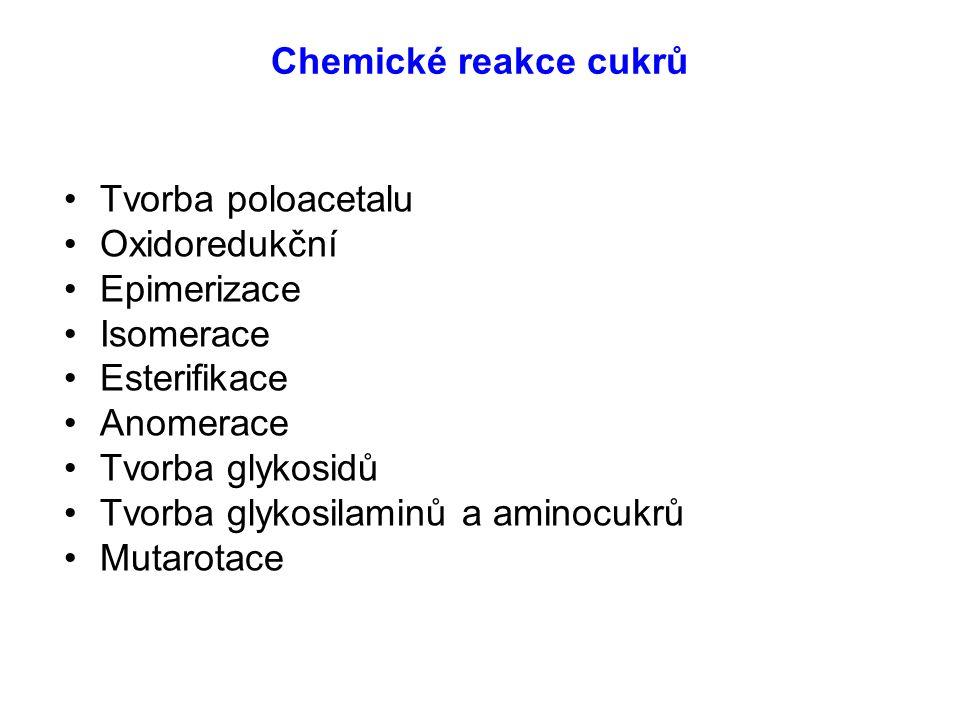 Chemické reakce cukrů Tvorba poloacetalu. Oxidoredukční. Epimerizace. Isomerace. Esterifikace. Anomerace.
