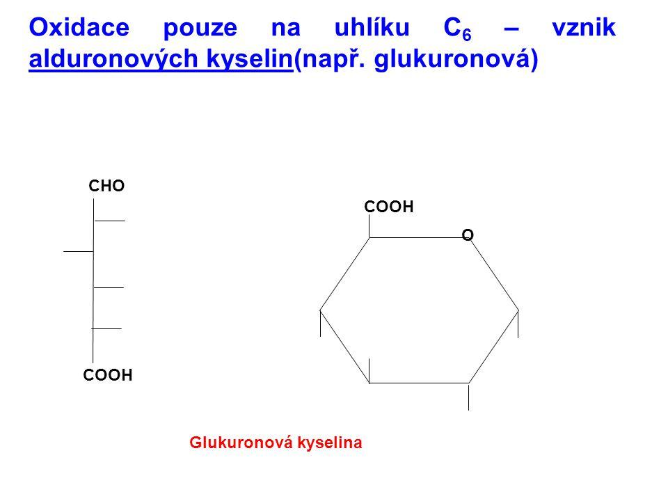 Oxidace pouze na uhlíku C6 – vznik alduronových kyselin(např