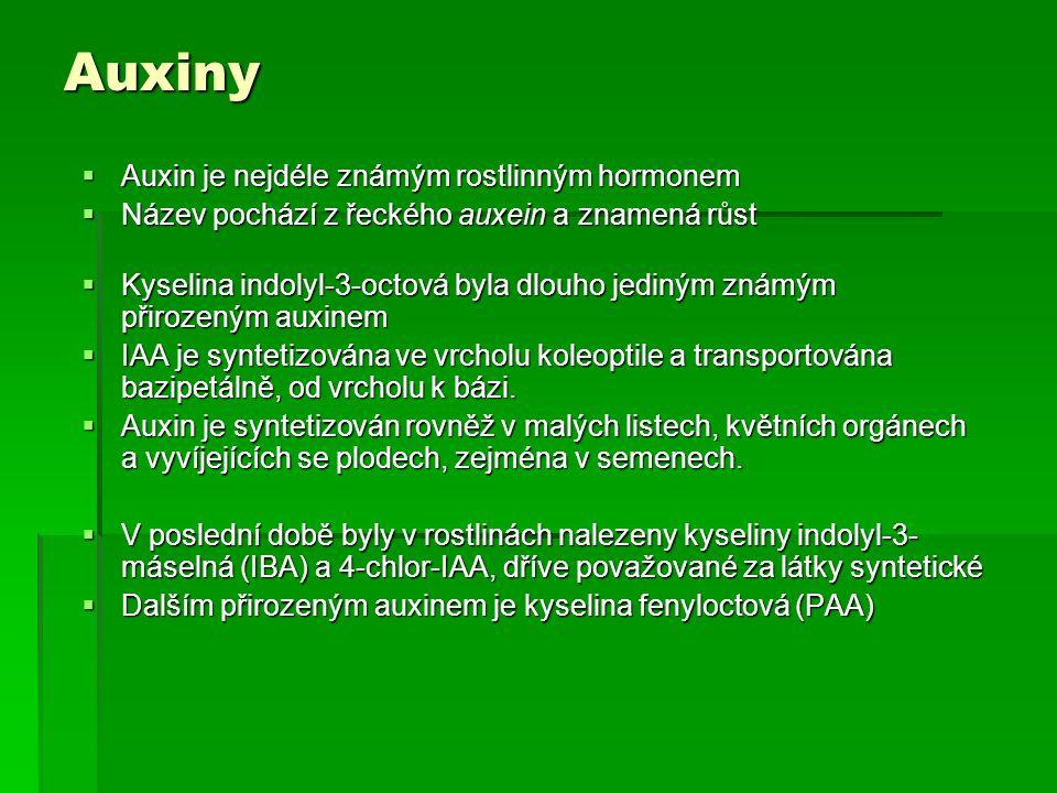 Auxiny Auxin je nejdéle známým rostlinným hormonem