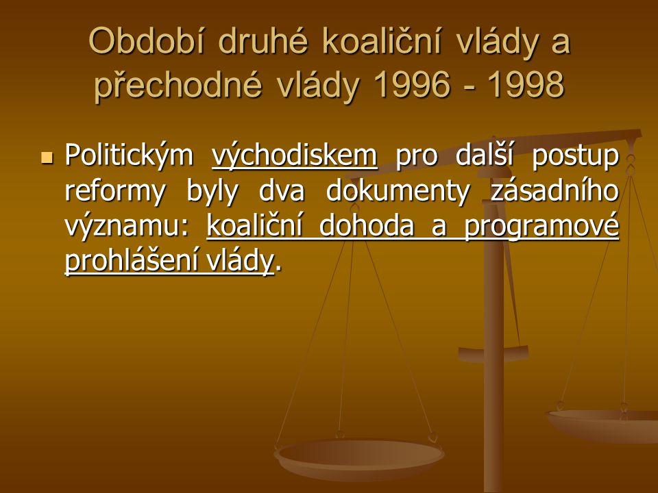 Období druhé koaliční vlády a přechodné vlády 1996 - 1998