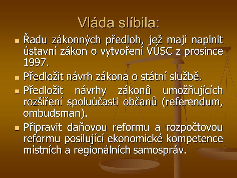 Vláda slíbila: Řadu zákonných předloh, jež mají naplnit ústavní zákon o vytvoření VÚSC z prosince 1997.