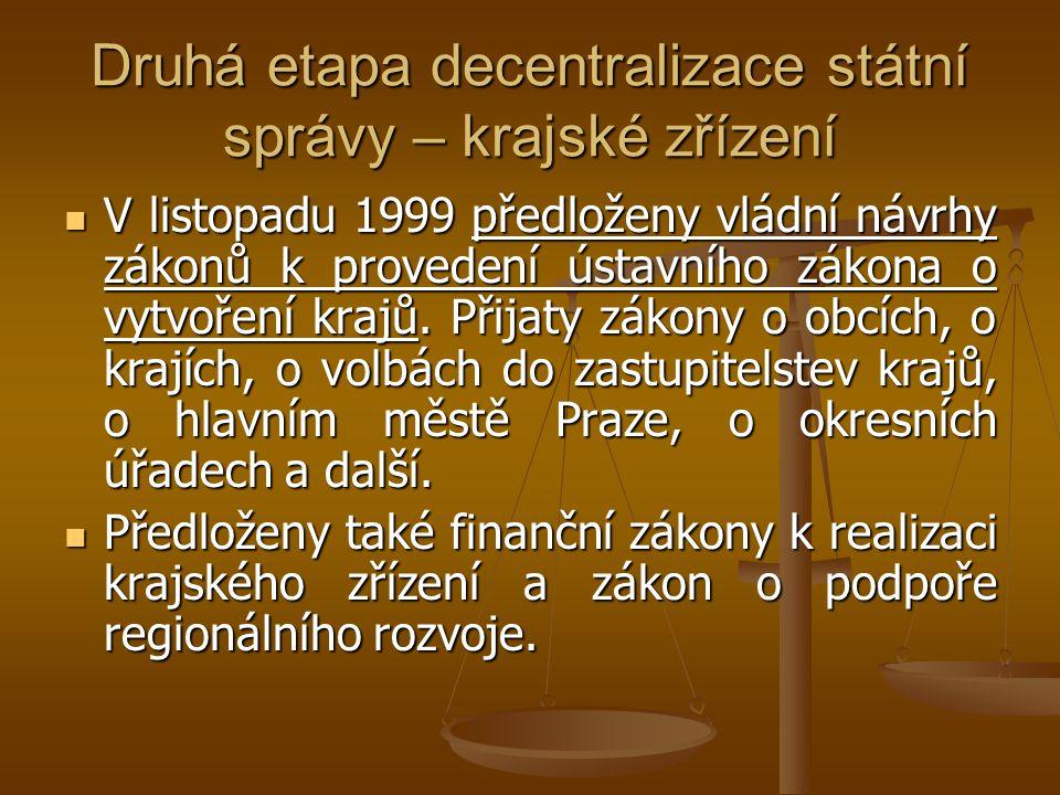 Druhá etapa decentralizace státní správy – krajské zřízení