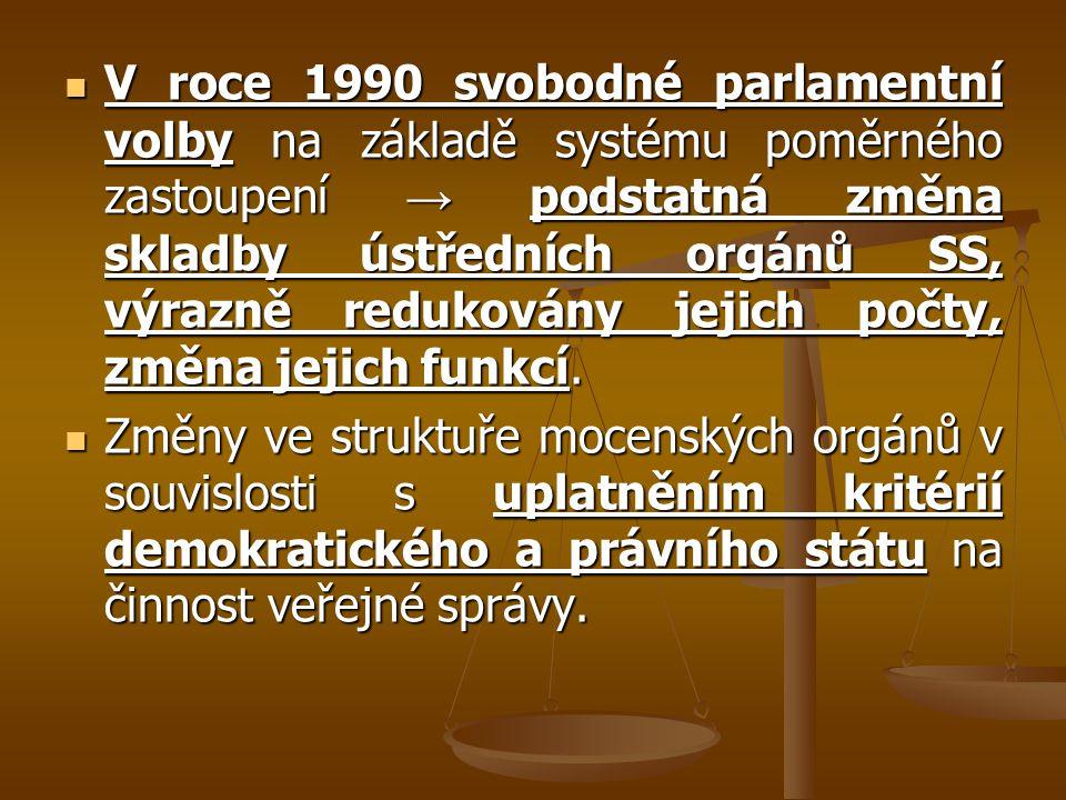 V roce 1990 svobodné parlamentní volby na základě systému poměrného zastoupení → podstatná změna skladby ústředních orgánů SS, výrazně redukovány jejich počty, změna jejich funkcí.