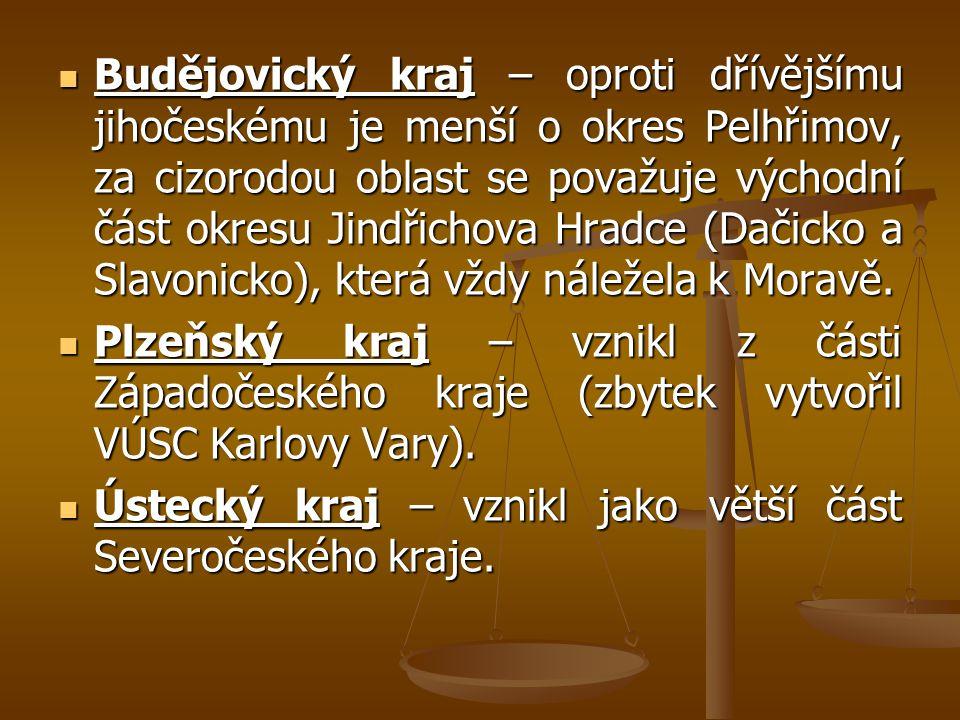 Budějovický kraj – oproti dřívějšímu jihočeskému je menší o okres Pelhřimov, za cizorodou oblast se považuje východní část okresu Jindřichova Hradce (Dačicko a Slavonicko), která vždy náležela k Moravě.