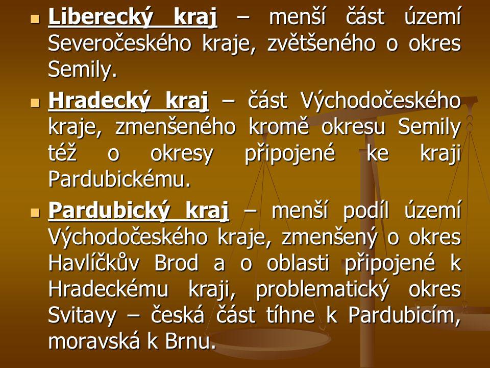 Liberecký kraj – menší část území Severočeského kraje, zvětšeného o okres Semily.