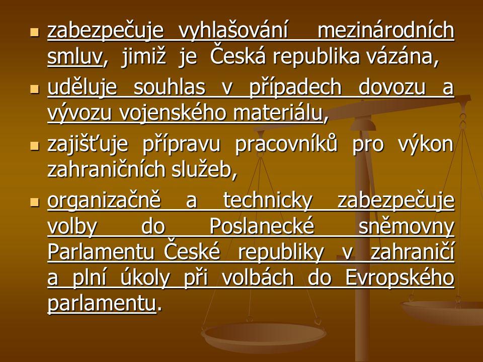 zabezpečuje vyhlašování mezinárodních smluv, jimiž je Česká republika vázána,