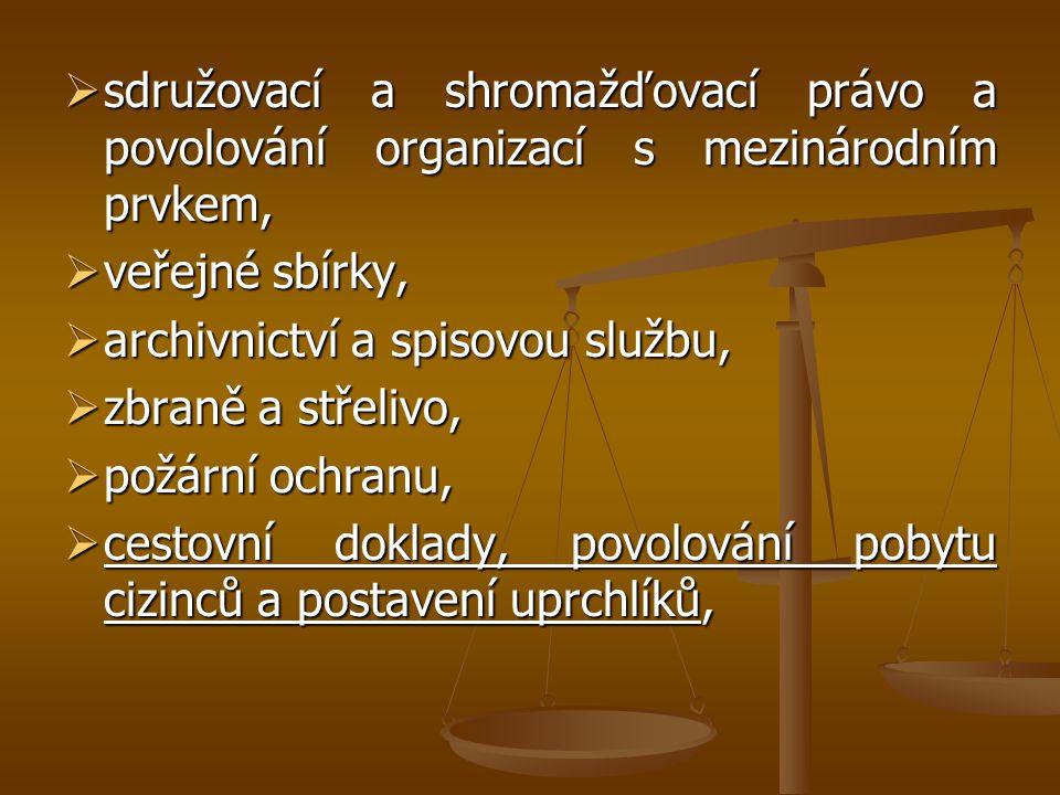 sdružovací a shromažďovací právo a povolování organizací s mezinárodním prvkem,