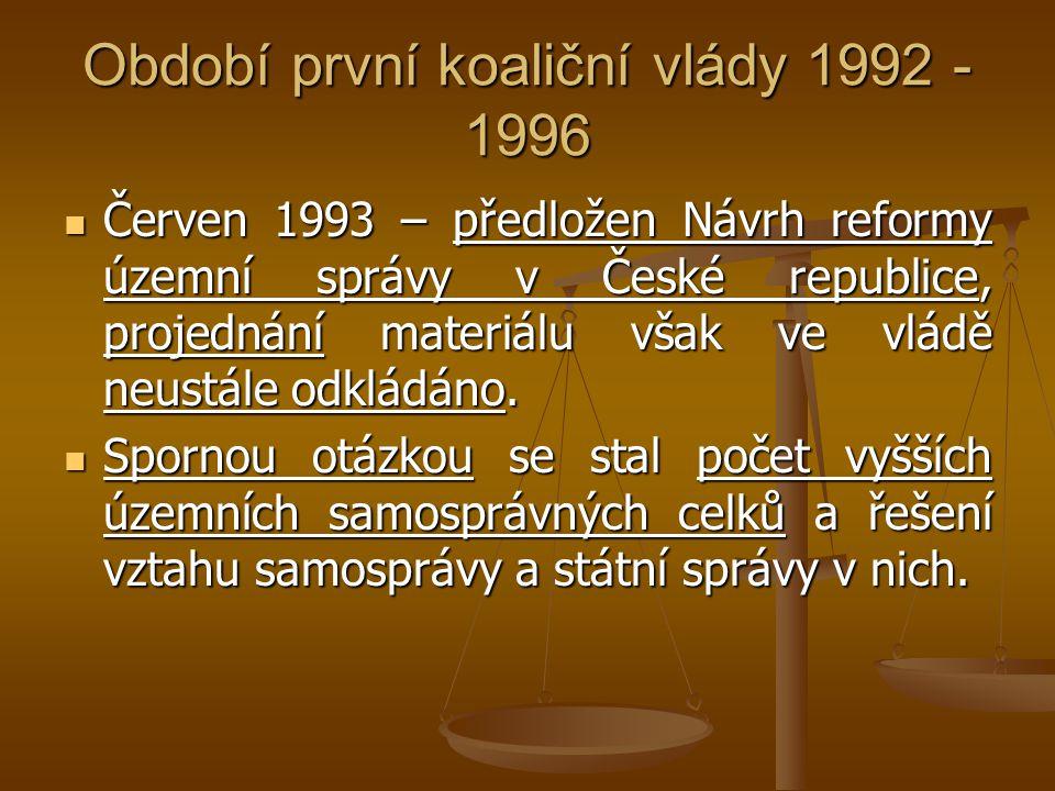 Období první koaliční vlády 1992 - 1996
