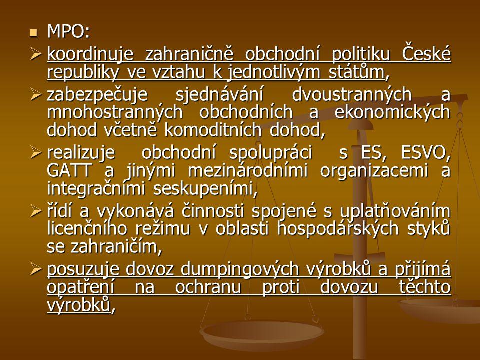 MPO: koordinuje zahraničně obchodní politiku České republiky ve vztahu k jednotlivým státům,