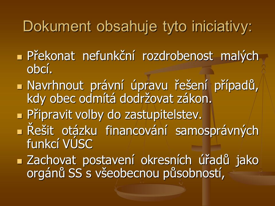 Dokument obsahuje tyto iniciativy: