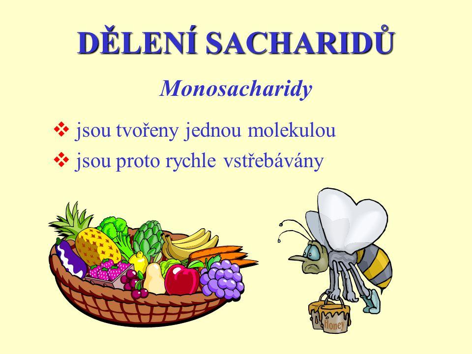 DĚLENÍ SACHARIDŮ Monosacharidy jsou tvořeny jednou molekulou