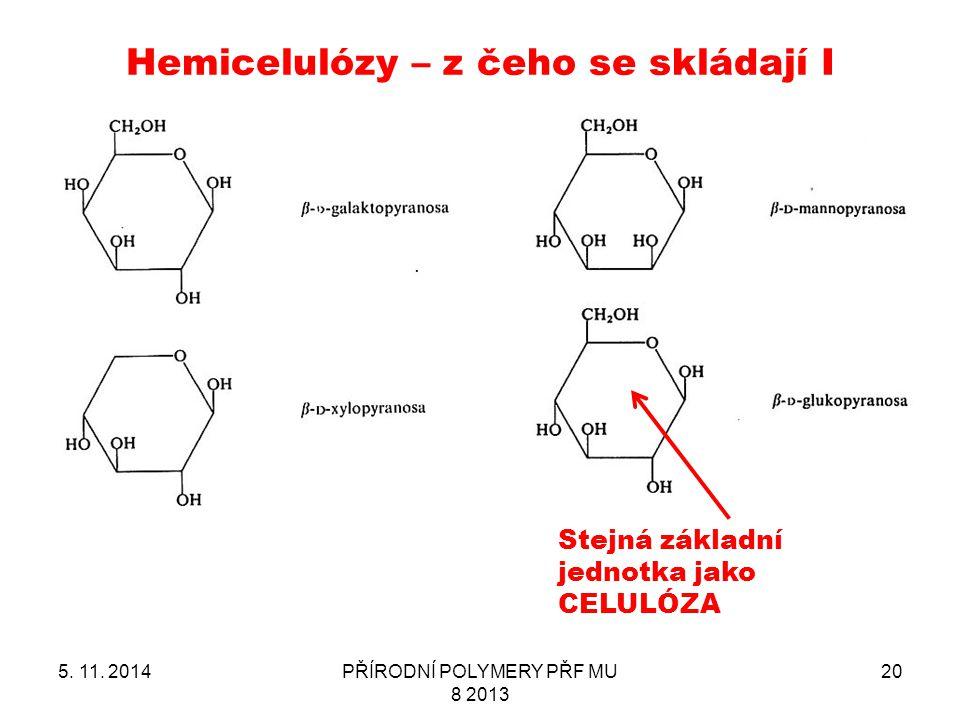 Hemicelulózy – z čeho se skládají I