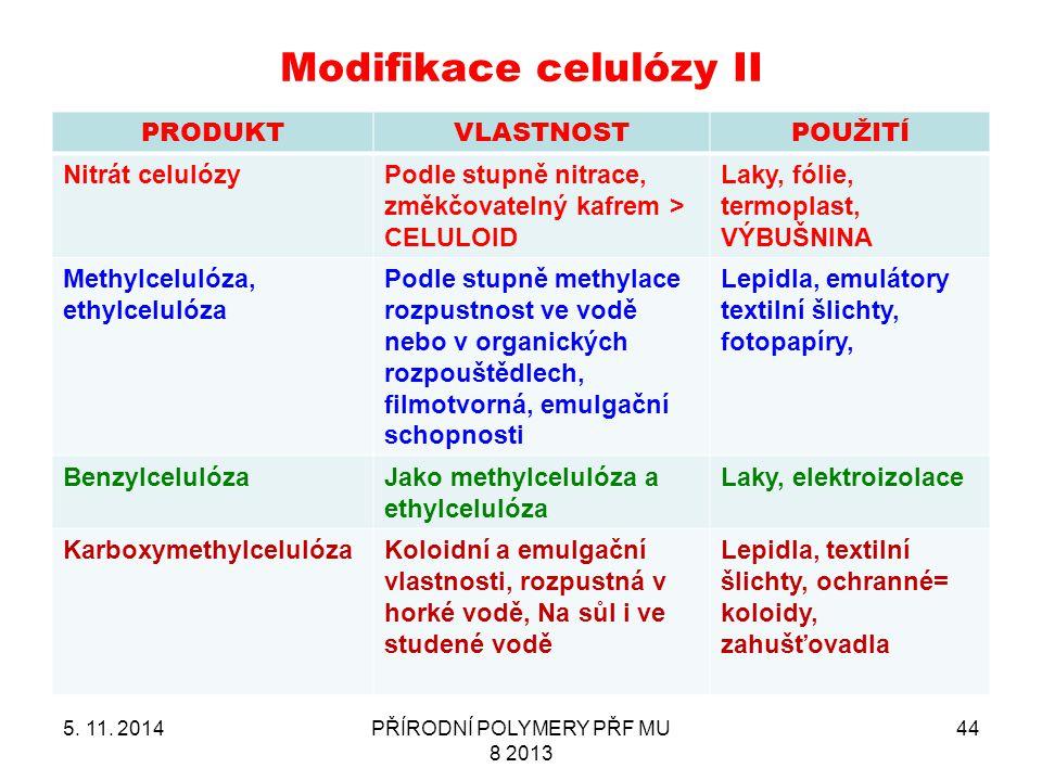Modifikace celulózy II