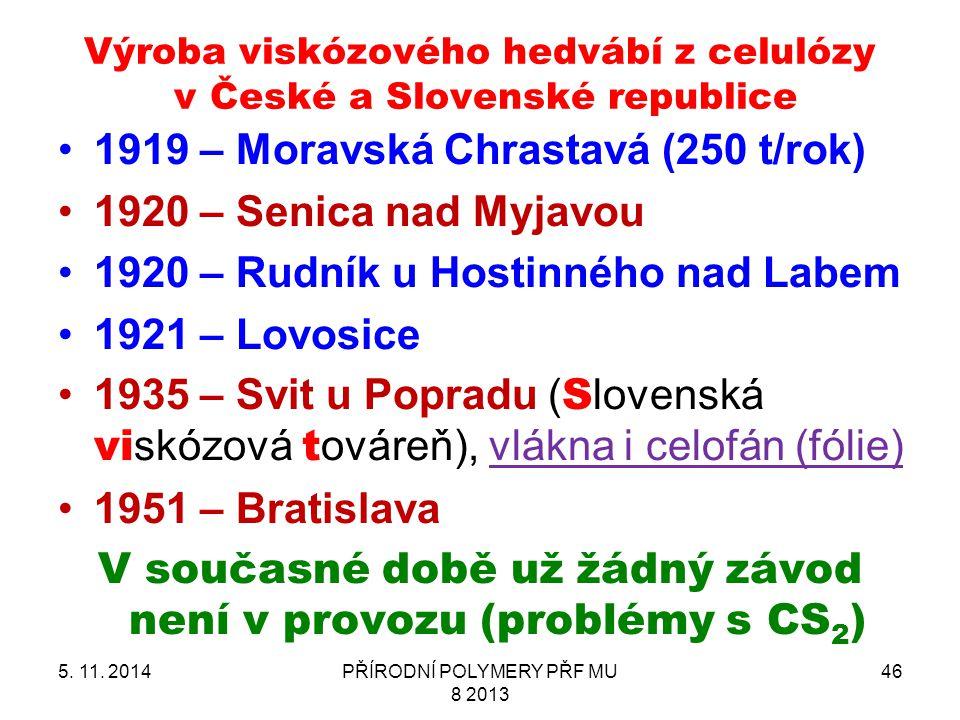 Výroba viskózového hedvábí z celulózy v České a Slovenské republice