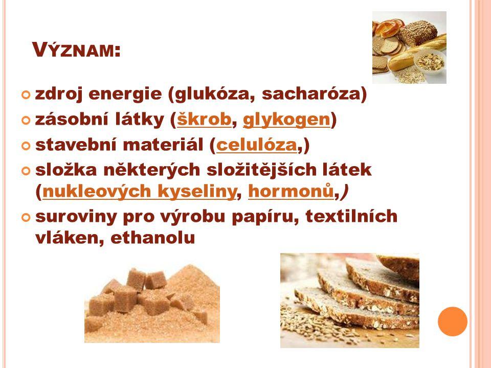 Význam: zdroj energie (glukóza, sacharóza)