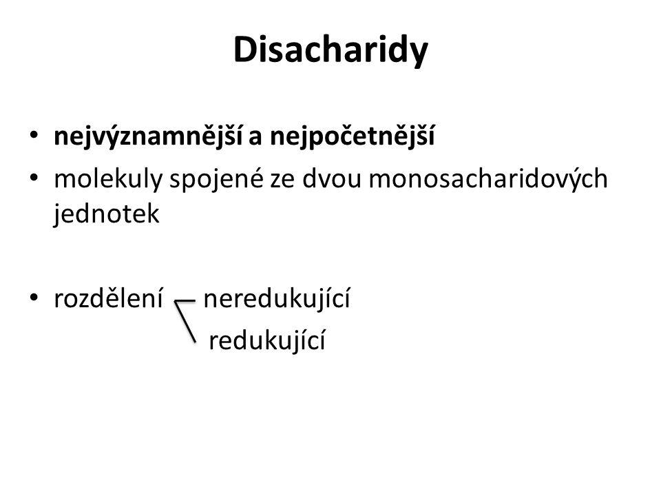 Disacharidy nejvýznamnější a nejpočetnější