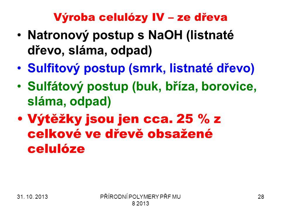 Výroba celulózy IV – ze dřeva
