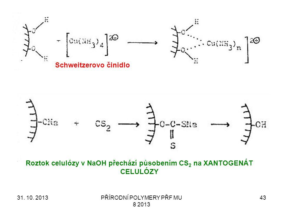 Roztok celulózy v NaOH přechází působením CS2 na XANTOGENÁT CELULÓZY