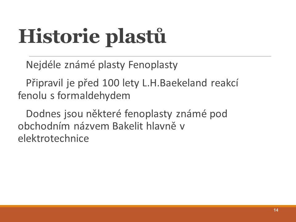 Historie plastů Nejdéle známé plasty Fenoplasty