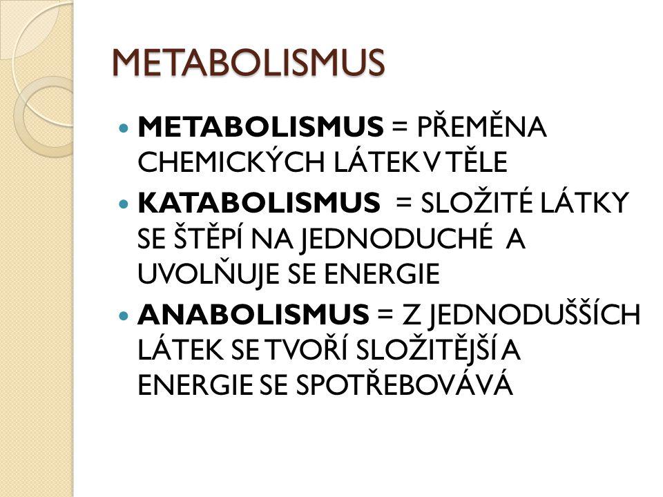 METABOLISMUS METABOLISMUS = PŘEMĚNA CHEMICKÝCH LÁTEK V TĚLE