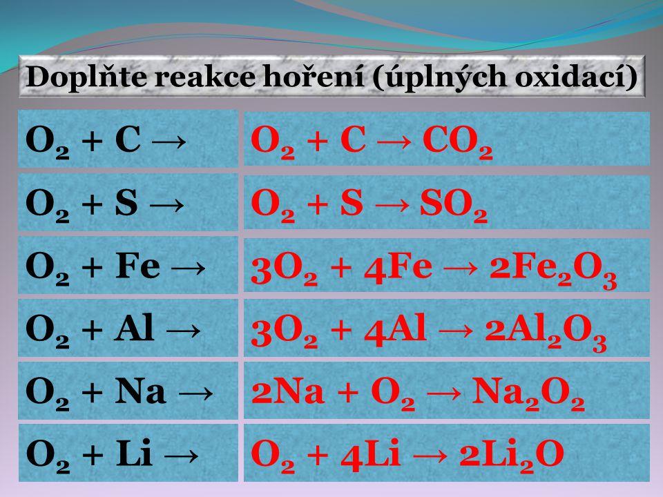 Doplňte reakce hoření (úplných oxidací)