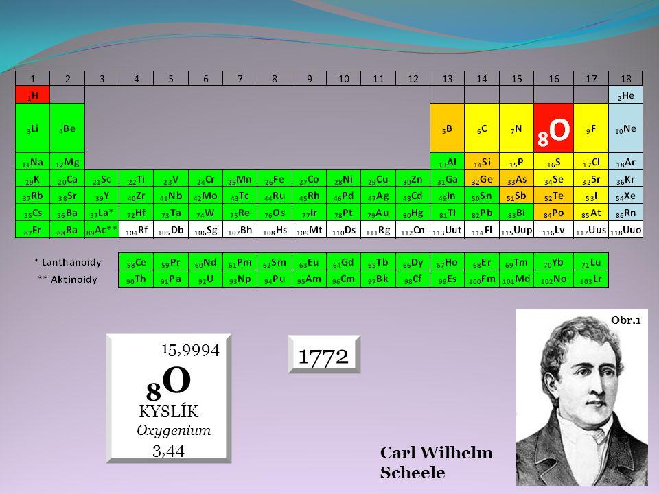 Carl Wilhelm Scheele Obr.1 15,9994 8O KYSLÍK Oxygenium 3,44 1772