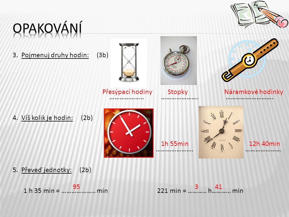 Opakování 3. Pojmenuj druhy hodin: (3b) ……………….. …………………. ……………………….