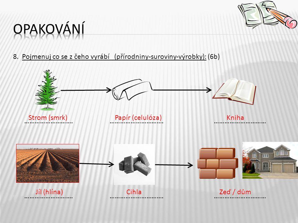 Opakování 8. Pojmenuj co se z čeho vyrábí (přírodniny-suroviny-výrobky): (6b)