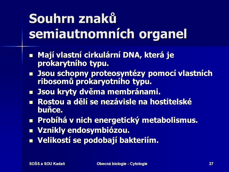 Souhrn znaků semiautnomních organel
