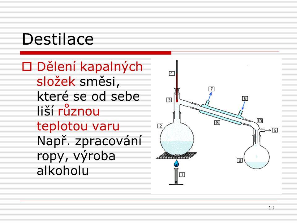 Destilace Dělení kapalných složek směsi, které se od sebe liší různou teplotou varu Např.