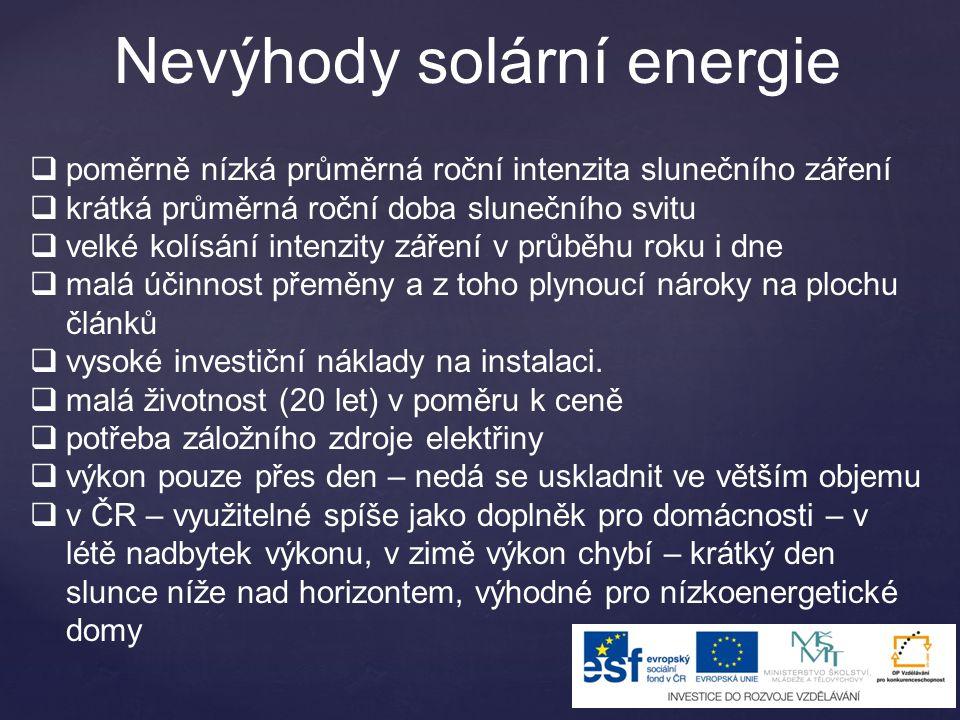 Nevýhody solární energie