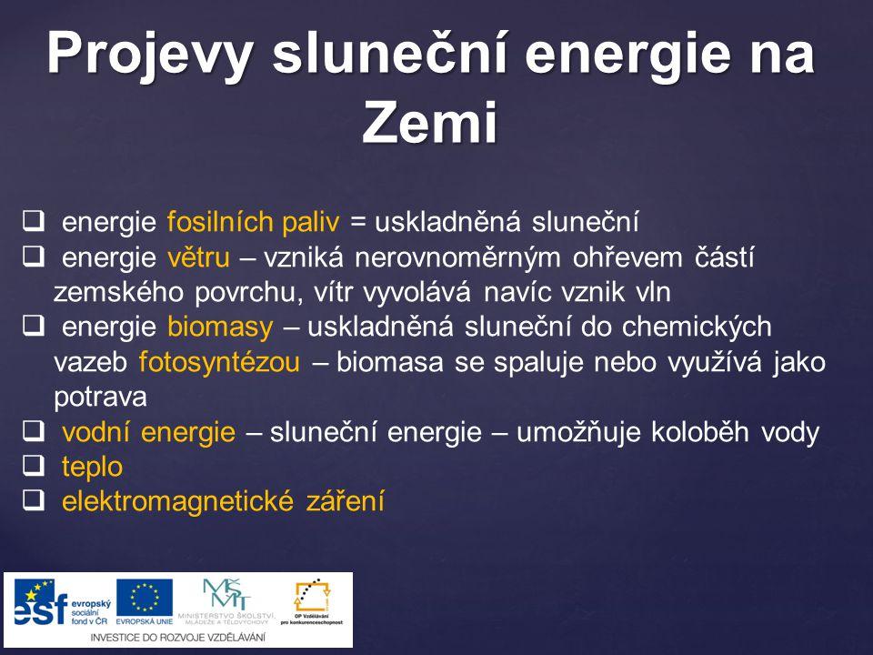 Projevy sluneční energie na Zemi