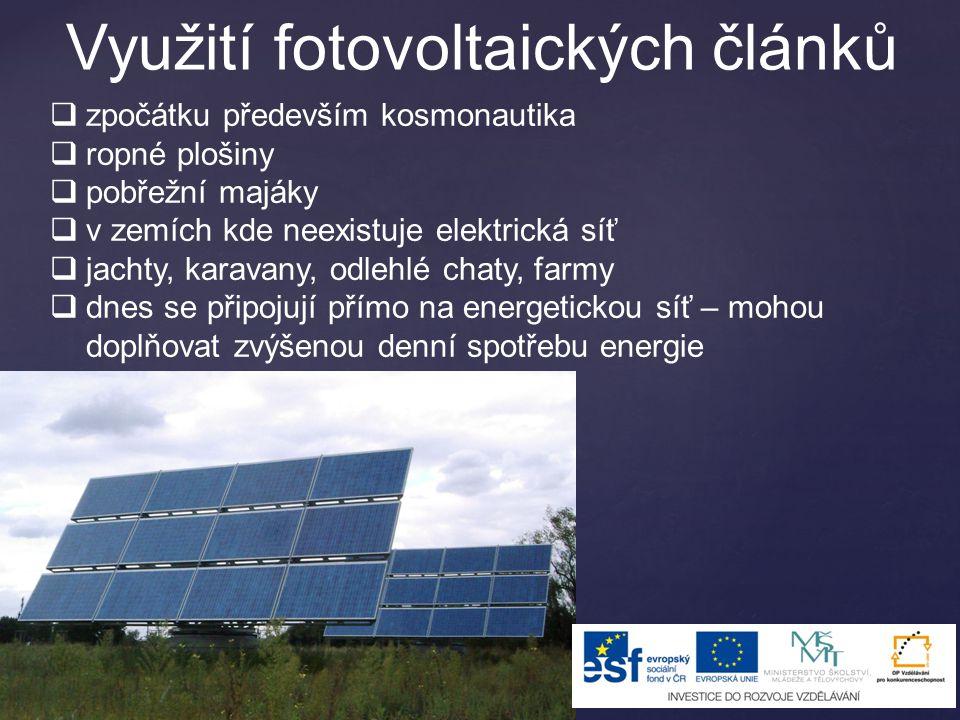 Využití fotovoltaických článků