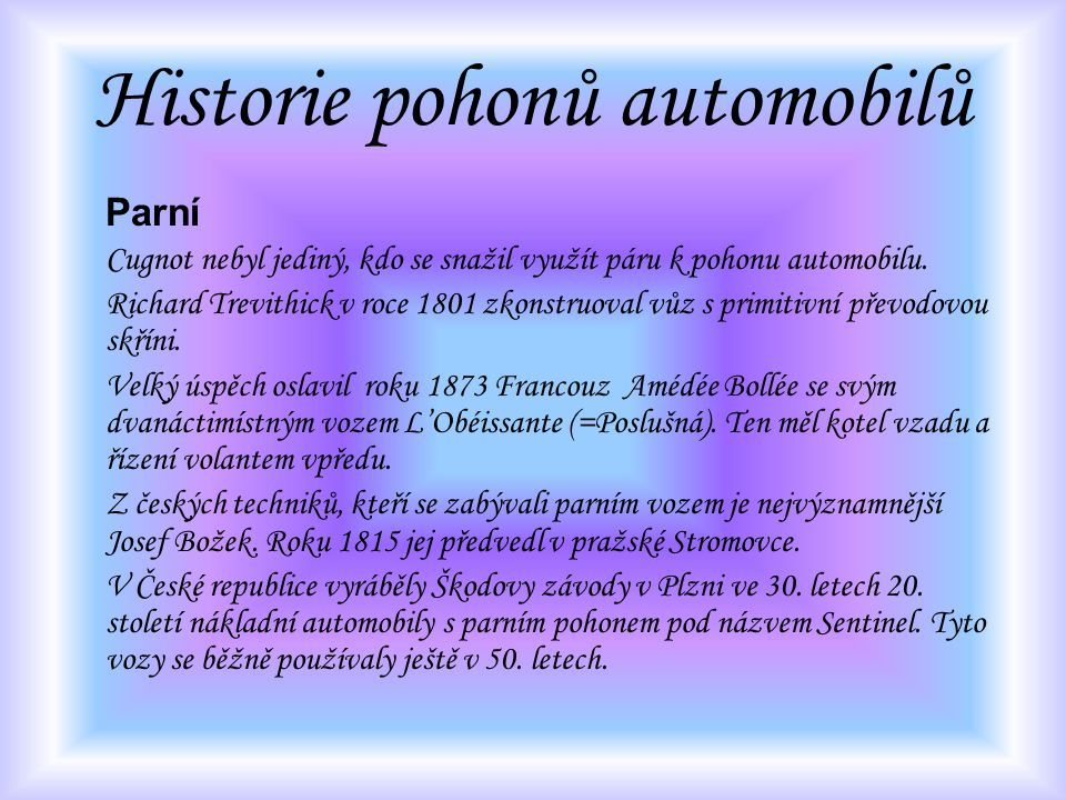 Historie pohonů automobilů