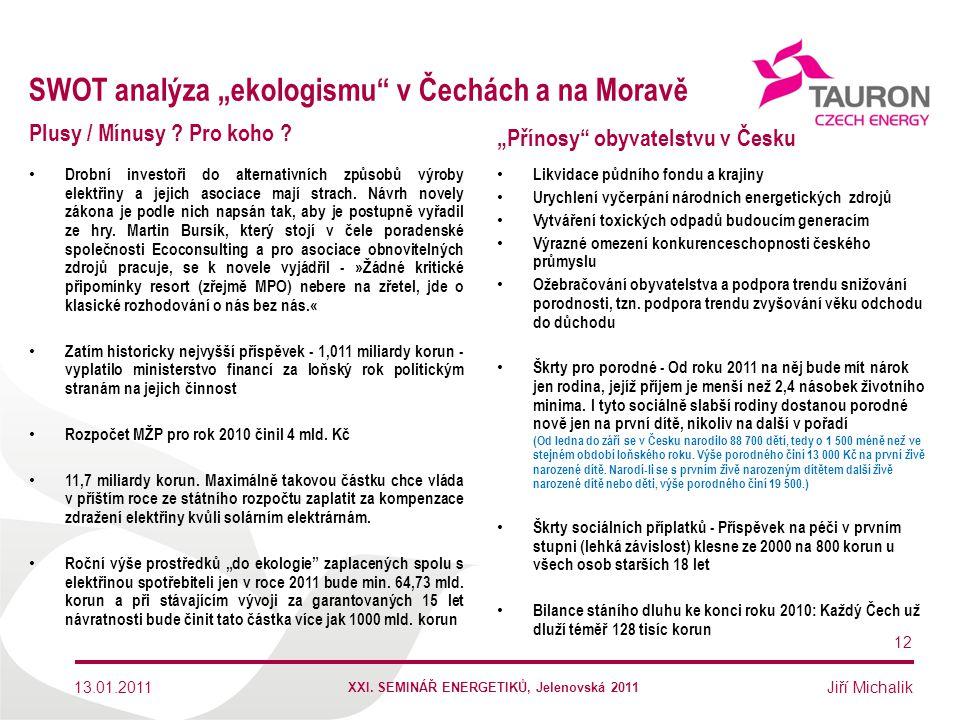 """SWOT analýza """"ekologismu v Čechách a na Moravě"""