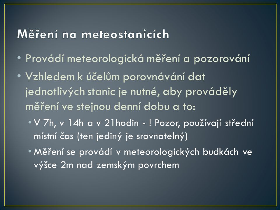 Měření na meteostanicích