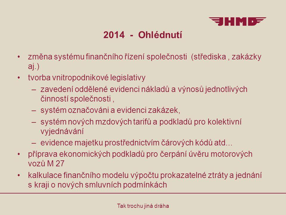 2014 - Ohlédnutí změna systému finančního řízení společnosti (střediska , zakázky aj.) tvorba vnitropodnikové legislativy.