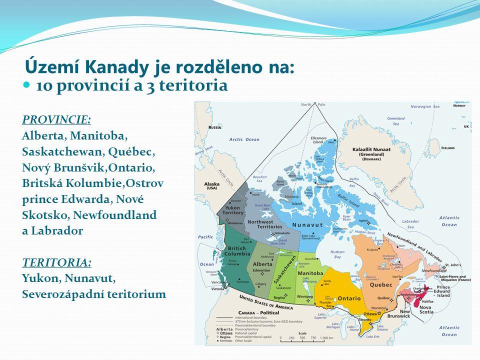 Území Kanady je rozděleno na:
