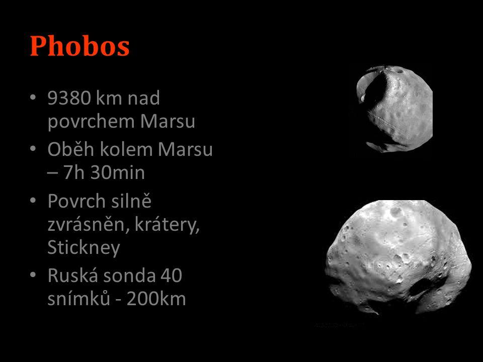 Phobos 9380 km nad povrchem Marsu Oběh kolem Marsu – 7h 30min