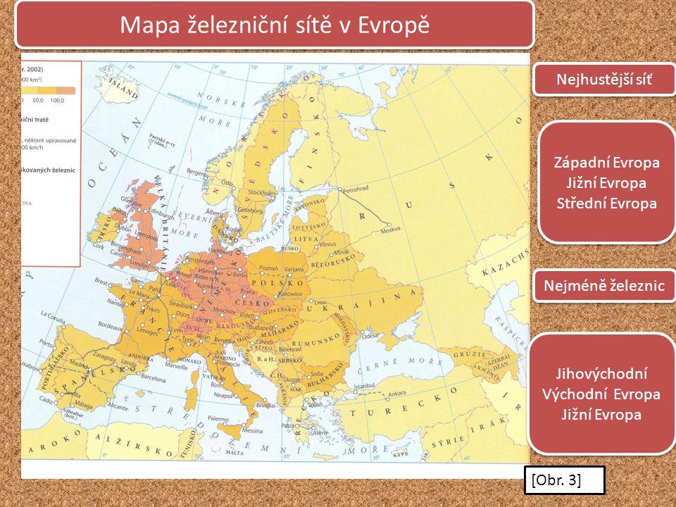 Mapa železniční sítě v Evropě