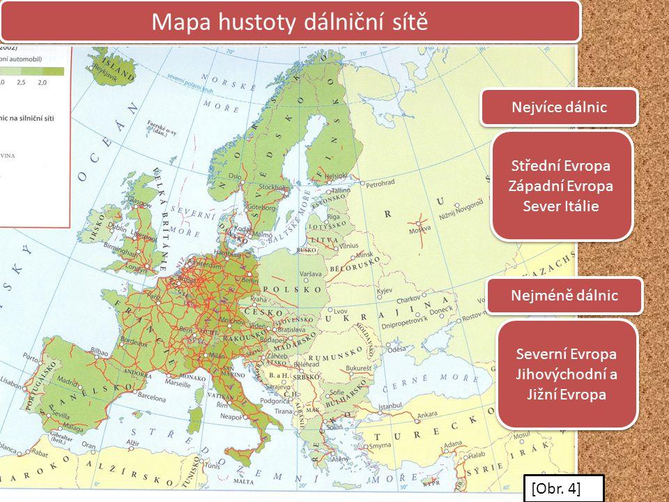 Mapa hustoty dálniční sítě