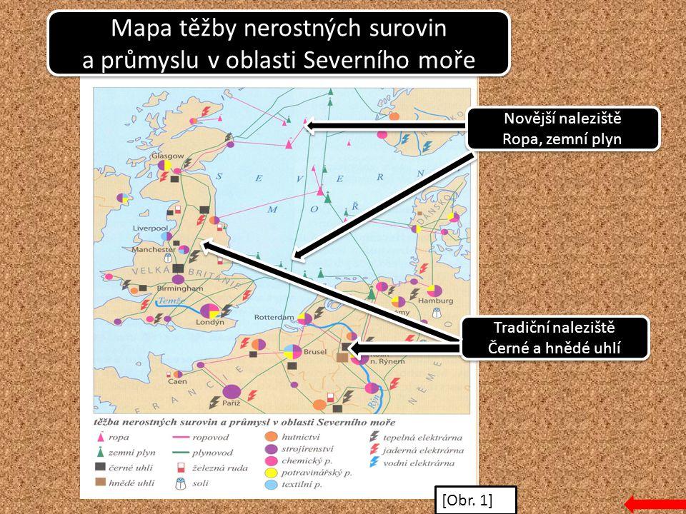 Mapa těžby nerostných surovin a průmyslu v oblasti Severního moře