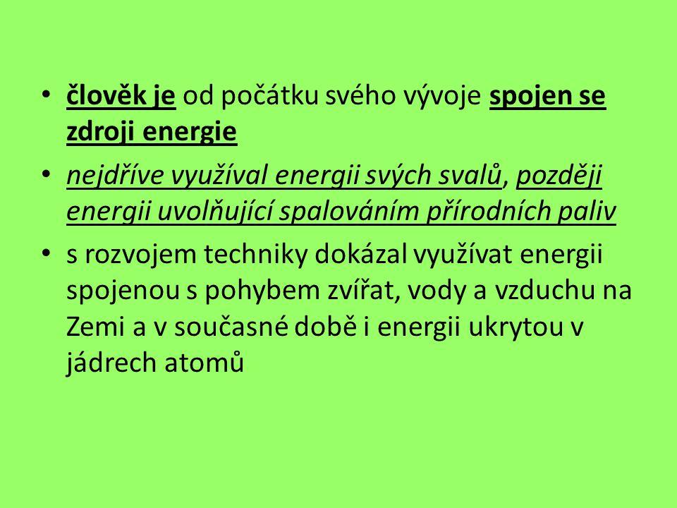 člověk je od počátku svého vývoje spojen se zdroji energie