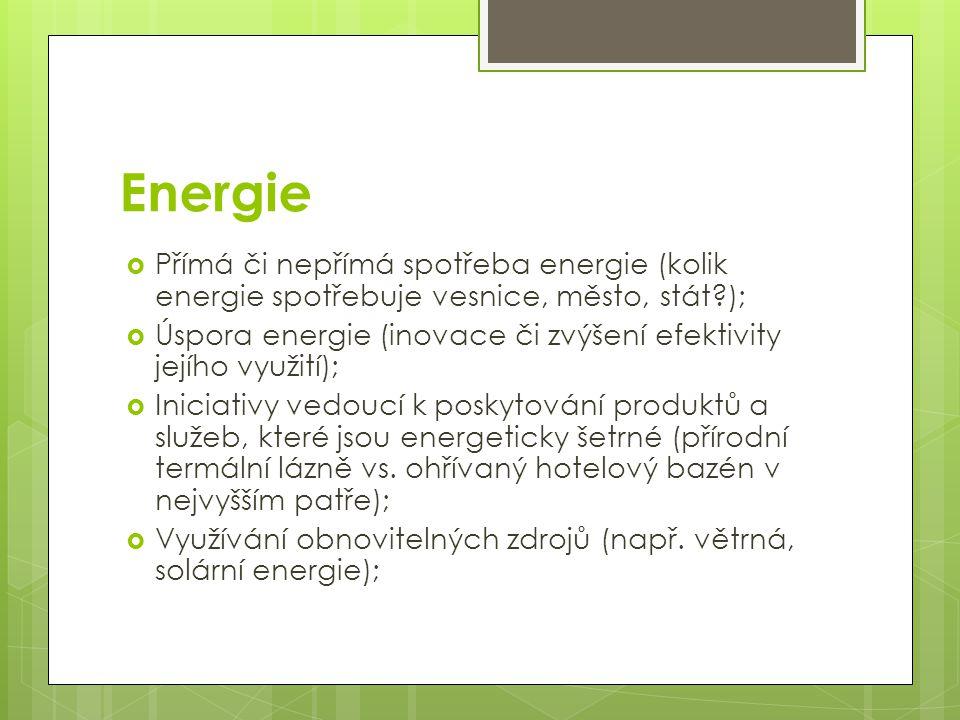 Energie Přímá či nepřímá spotřeba energie (kolik energie spotřebuje vesnice, město, stát );